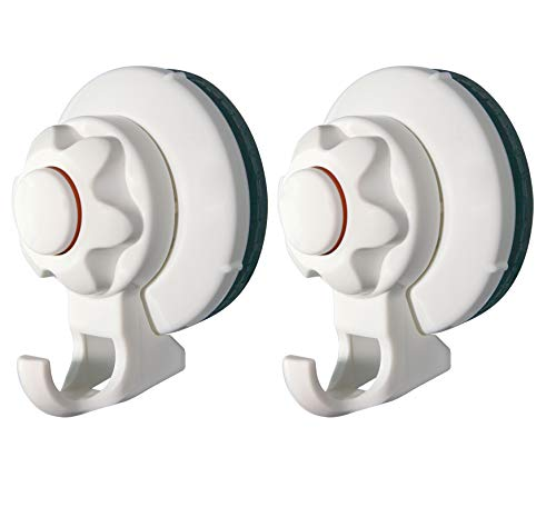 Pump&Fix Heavy Duty Removable Strong Powerful Suction Cup Hooks for Window, Shower Loofah, Bathroom Towel, Kitchen Hangers up to 18lb, 2 Pack