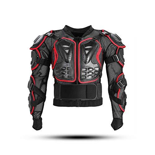 KINGUARD Chaqueta de Moto Chaqueta Protectora Cuerpo Armadura Profesional de Motocicleta Protección del Cuerpo Entero Spine Chest para Hombres Mujeres (Rojo, XL)