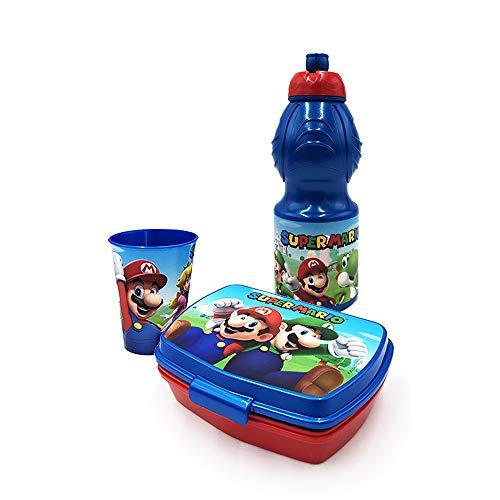 Lunchbox-Set aus Kunststoff, 400 ml, 1 Becher, 1 Behälter (Super Mario)