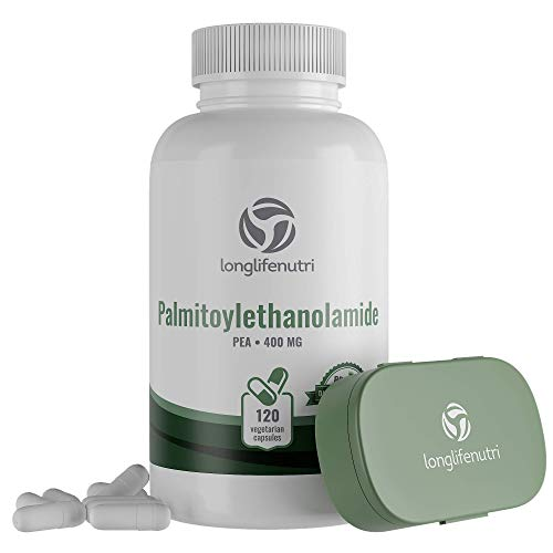 Palmitoylethanolamide 400 mg - 120 Vegetarian Capsules   Micronized Pea Pills   Made in USA   Supports Pain Management   Promotes Healthy Inflammatory Responses   Pure Powder Supplement Complex