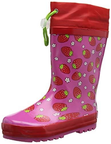 Playshoes Mädchen Girls Wellies Strawberries Schlupfstiefel, Rosa, 34/35 EU