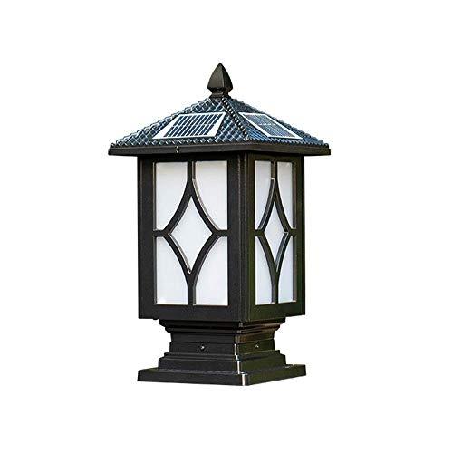 Alle leampp solar-kolom lamp zwart IP65 retro waterdicht paal licht externe landschap palen zuil licht Europese outdoor gazon tuinverlichting Edison E27