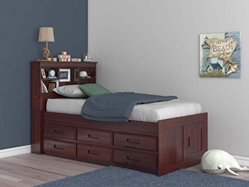 Discovery World Furniture 2820-K6-KD Bookcase Bed, Twin, Merlot