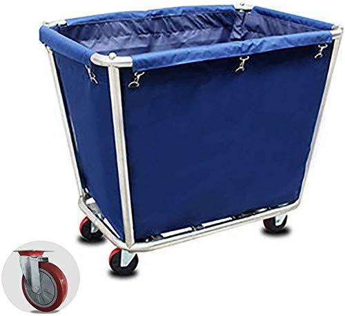 Wasserij sorteren car Commercial Hotel Laundry Room Kar met Silent Wiel, RVS wasmand Sorters Trolley met afneembaar Bag Dienst rolwagen (Color : Blue)