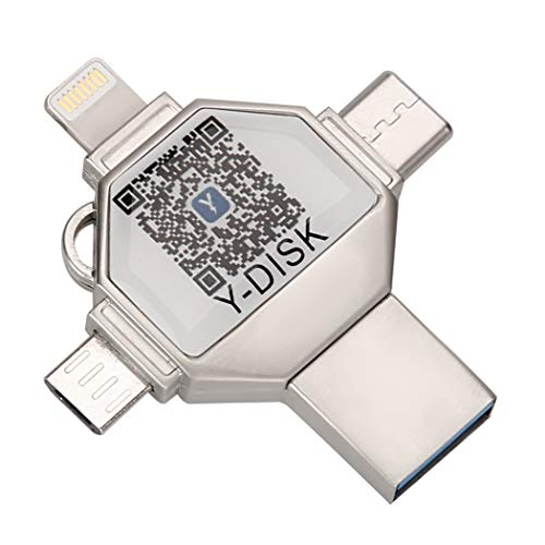 4 en 1 OTG USB Flash Drive Pen Drive USB 3.0 Pendrive para iPhone/iOS/Tipo-C/Android/PC (256GB)