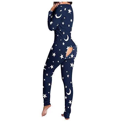 Mujeres Star Moon Print Funcional con solapa abotonada Adultos Pijamas Club Botón liso Diseño Plunge Lounge Mono
