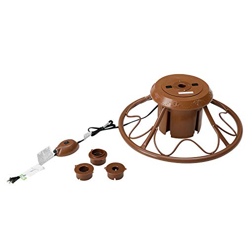 Home Heritage Versatile Electric Rotating Stand Base for Artificial Christmas Trees up to 9 Feet Tall, Brown