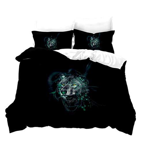 Ropa de Cama 3D Animales Wolf 1/2 Persona Nieve Luna Noche Cielo Estrellado Lobo Cubierta de La Cama Azul Blanco Gris Negro Funda Nórdica Funda de Almohada (Colour 5,180x210cm Cama 90 cm)
