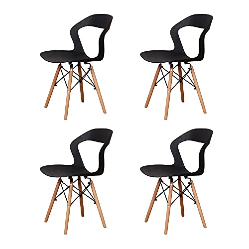 VERDELZ Living Room Chairs/Dining Chairs/Desk Chairs/Office Chairs/Leisure Chairs/Natural Beech Chairs with ABS backrest, a Set of 4, Black