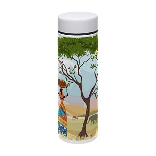COOSUN Afrikaanse vrouwen in berglandschap roestvrij staal Thermos waterfles geïsoleerde vacuüm Cup lek bewijs dubbele vacuüm fles voor warme en koude dranken koffie of thee, reizen thermische mok, 220 ml/ 7.5oz