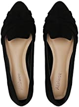 Ataiwee Women's Wide Width Flat Shoes - Pointy Loafer Cute Simple Ballet Flats.(1910005-3,BK/MF,9 Wide)