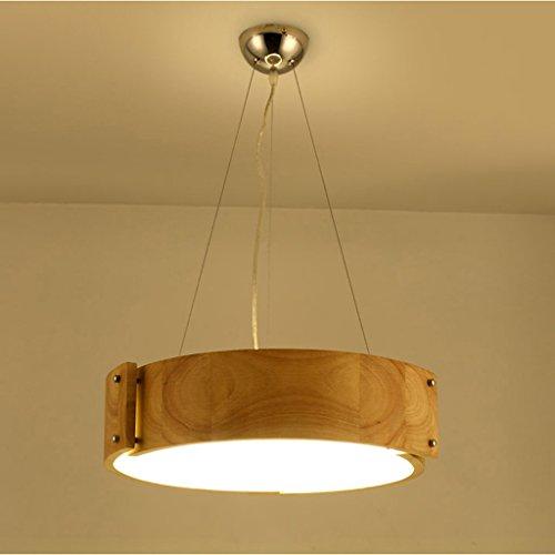 LOFAMI Lampadaire Nordic Round LED en bois massif Chandelier Acrylique Économie d'énergie 36W Living Room Plafonnier (Color : Chandeliers-White light)