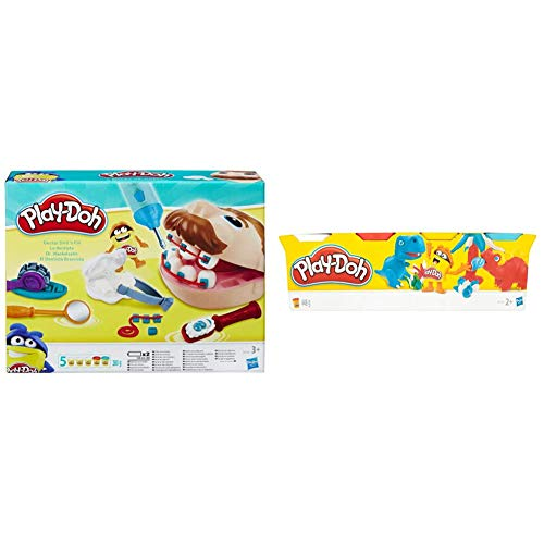 Hasbro Play-Doh - Play-Doh Dottor Trapanino, B5520Eu4 & Play-Doh - 4 Vasetti Singoli, B5517Eu4, Colori Assortiti