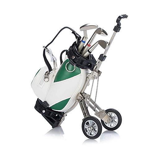 PiaoGolfGift Gadget Desktop Golftasche Geschenkset, Golftasche Stifthalter und 3 Kugelschreiber Stiften in Golfschlägerform,Green