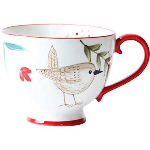 Taza para café, té 13.5oz Vintage pintado a mano taza de...