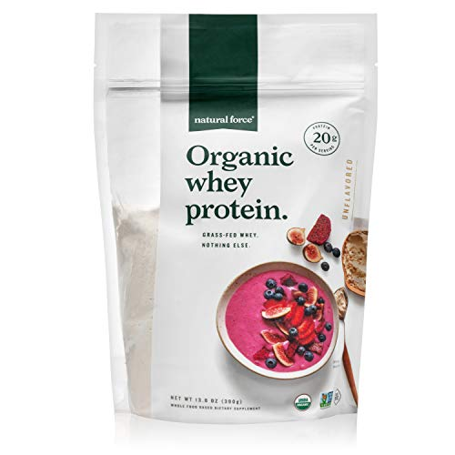 Natural Force Grass Fed Organic Whey Protein Powder – Non GMO Verified, Humane Certified & Lab...
