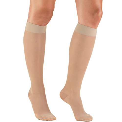 Truform Sheer Compression Stockings, 15-20 mmHg, Womens Knee High Length, 20 Denier, Nude, Large