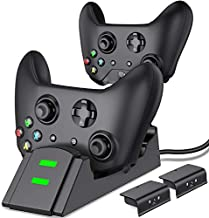 Xbox One Controller Charger, Xbox Controller Charging Station for Xbox One/One X/One S/One Elite, Xbox One Charger with 2 x 1200mAh Rechargeable Battery Packs