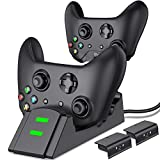 Controller Charger for Xbox one, Controller Charging Station Compatible with Xbox One/One X/One S/One Elite, Dual Charging Dock with 2 x 1200mAh Rechargeable Battery Packs…