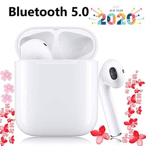 Auriculares inalámbricos i12-Bluetooth 5.0, Auriculares estéreo 3D-HiFi, Smart Touch, Emparejamiento automático, Llamada HD Micrófono binaural-Blanco