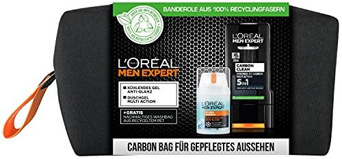 L\'Oréal Men Expert Geschenkset für Männer, Mit Carbon Clean 5in1 Duschgel und Hydra Energy kühlende Feuchtigkeitscreme, Inklusive Kulturbeutel, 1 x 350 ml