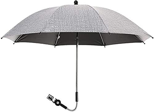 LIUPING Protección Solar Parasol Universal para Cochecitos Y Buggies - Protección UV 50+ 75 / 85cm De Diámetro/Flexible/Soporte Universal para Tubos Redondos Y Ovalados (Color : Gray, Size : 85cm)