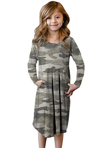Blibea Big Girl Casual Camo Print Long Sleeve Round Neck Neck Boho Empire Belt Midi Dress with Pocket Size 8 9 Khaki