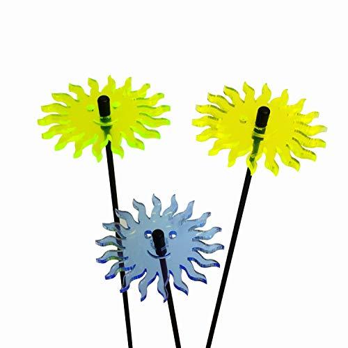 3X Sonnenfänger Lächelnde Sonne, Deko Gartenstecker 3er Set mit 25cm Schwingstab, Leuchtende Garten Geschenk Idee, Farbe:gelb/grün/blau