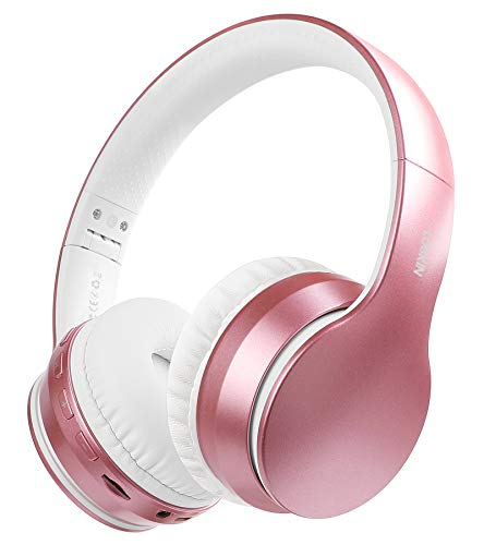 LOBKIN Bluetooth Headphones Over-Ear, Stereo Wireless Headset with Microphone, Foldable Wireless and Wired Headphones with TF Card MP3 Mode and FM Radio for iPhone/Samsung/iPad/PC (Rose Gold)