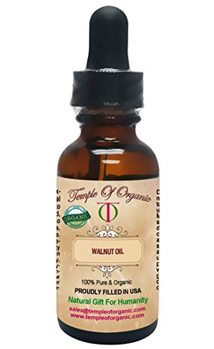 Organic WALNUT OIL 1 oz 100% Pure Unrefined Cold Pressed Pharmaceutical Top Grade A Hair Regrowth Body Skin Nails By Temple Of Organic