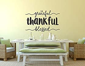 Vinyl Wall Art Decal - Grateful Thankful Blessed - Fall Decoration Thanksgiving Turkey Day Gather Autumn Holiday Family Se...