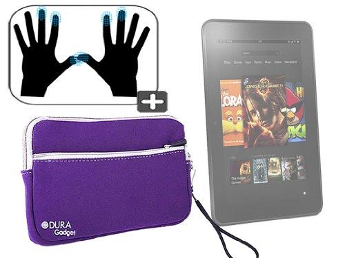 """DURAGADGET Housse étui résistant en néoprène Violet + Gants capacitifs conducteurs Taille L (Large) pour Nouvelle Tablette Kindle Fire 7"""" et Fire HD d"""