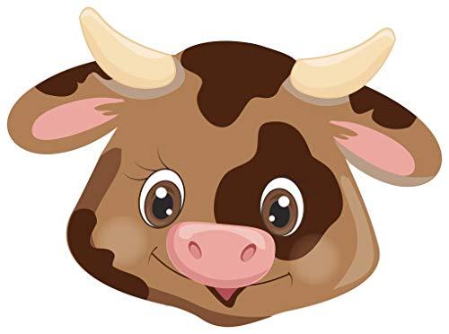 Samunshi® Tiergesicht Kuh Aufkleber Sticker Autoaufkleber Scheibenaufkleber in 8 Größen (8x5,9cm Mehrfarbig)