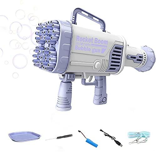 44穴ロケットランチャーシェイプバブルメーカー、Tik Tok用の充電式自動バブルマシン、ロケットブームバブルガン、夏の屋外アクティビティ用の子供用バブルガン (Purple)