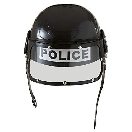 Widmann 2822R – politiehelm voor kinderen, met vizier, zwart, van hard plastic, helm, veiligheidshelm, politiekostuum, S.W.A.T kostuum, themafeest, carnaval