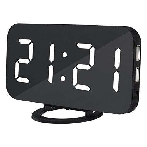 Wekker LED Spiegel Alarm Clock Led light Digital Clock Slaapkamer Dimmer Wake Up Light Met Dual USB Charge Port Home Decoration (Color : G, Size : Free)