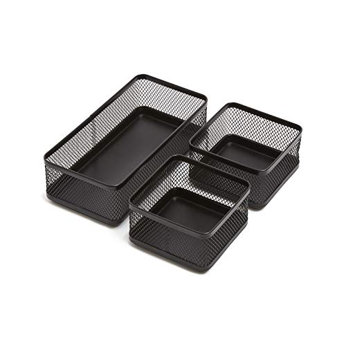 1InTheOffice Mesh Collection Desk Drawer Organizer Tray 3 Compartment - Stackable, Matte Black
