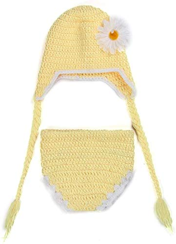 Aoyo Preciosa Girasol Ganchillo de Punto de Lana Sombrero de los Pantalones Cortos Suministros bebé recién Nacido Set Estudio fotográfico (Color : Yellow, Size : 40 * 46cm)