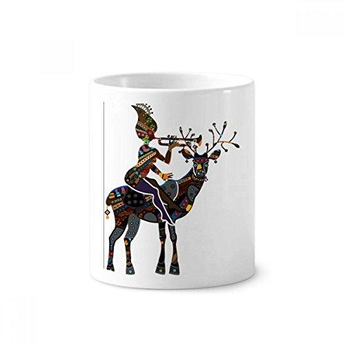DIYthinker African Aboriginal Schwarze Frauen Deer Trompete Keramik Zahnbürste Stifthalter Tasse Weiß Cup 350ml Geschenk 9.6cm x 8.2cm hoch Durchmesser