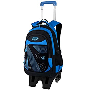 Boy Rolling Backpack Fanspack Wheeled Backpack for Boys School Bag with 6 Wheels Large Capacity Boy Roller Backpack Bookbag