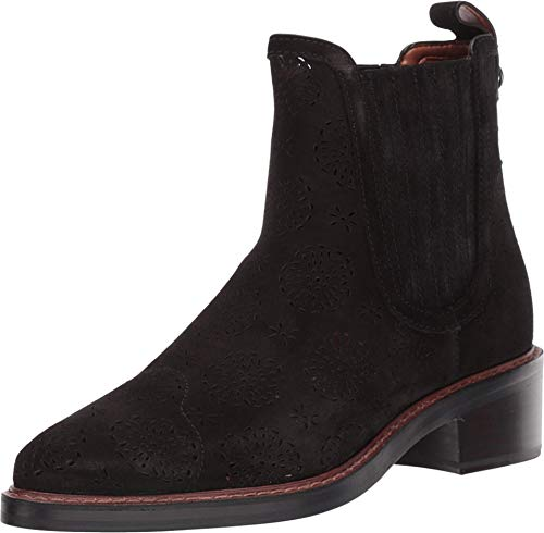 COACH Bowery Chelsea Boot with Cut Out Tea Rose Black 6.5