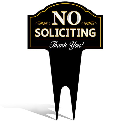 No Soliciting Outdoor Metal Yard Sign for Home, House and Business | Stylish Laser Cut | Made with Heavy Duty DiBond Aluminum