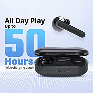 Mobvoi Earbuds Gesture Wireless in-Ear Headphones Independent Connection Bluetooth 5.0 Dual-Mic Noise Cancelling 50H Playtime with Charging case Touch Control for Home Office Sports Workout Gym