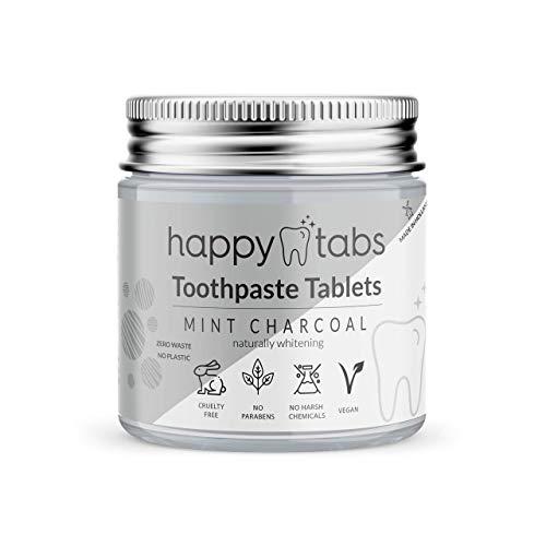 Happy Tabs - Zahnpastatabletten - Innovative Zahnpasta - Pfefferminzkohle (Fluoridfrei) - ca. 80 Kautabletten