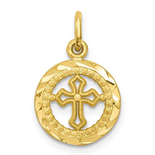 10k Yellow Gold Border Small Cut Out Heart Pendant Charm Necklace Religious Cross Passion Fine Jewelry For Women Gifts For Her