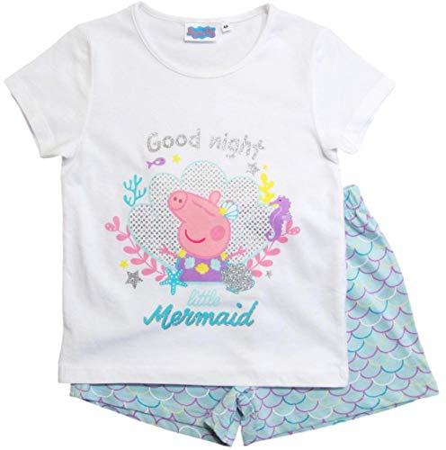 Peppa Wutz Schlafanzug Shorty Mädchen Kurz Peppa Pig (Rosa/Weiß/Blau, 98-104)