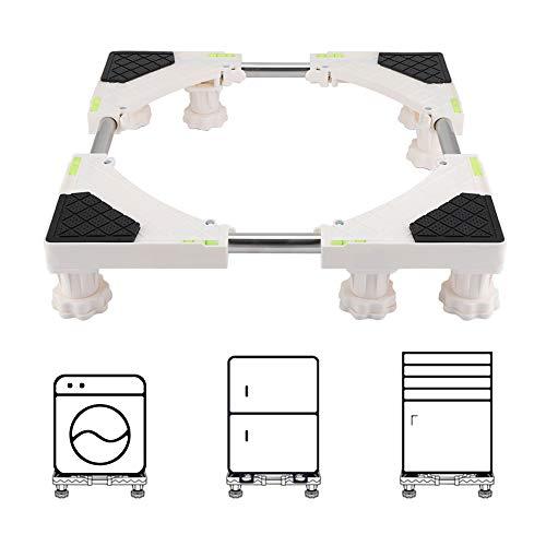 Waschmaschine Sockel Waschmaschinen Untergestell 4/8 Fuß Verstellbarer Edelstahl mit Riemenscheibe Halterung Standfuß für Trockner Waschmaschine und Kühlschrank(8 Fuß)