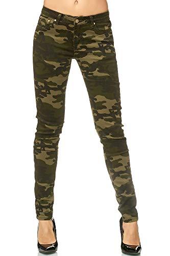 Elara Damen Stretch Hose Skinny Jeans Elastisch Chunkyrayan E583 Army 36 (S)