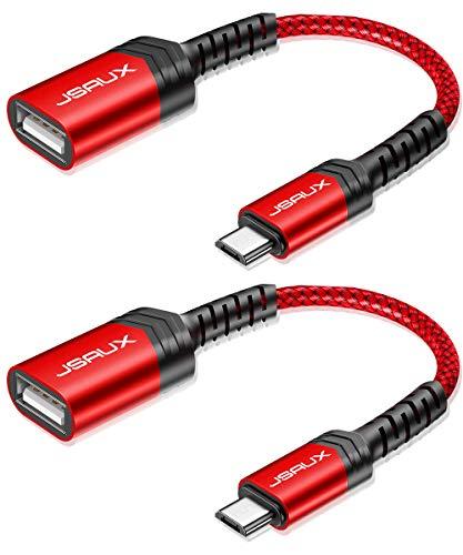 JSAUX Micro OTG Kabel [2 Stück 15CM], USB 2.0 auf Micro USB OTG Adapter Nylon Kompatibel für Samsung Galaxy S5 S6 S7 Edge, Note 5, Galaxy Tab 3, Huawei P9/P10 Lite, Android Smartphones/Tablets (Rot)