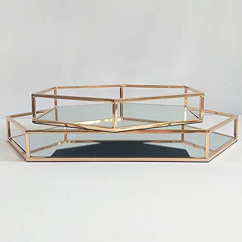 Pn&cc Plateau de Miroir de Stockage cosmétique, Plateau de Miroir en métal à Six pans Creux,L